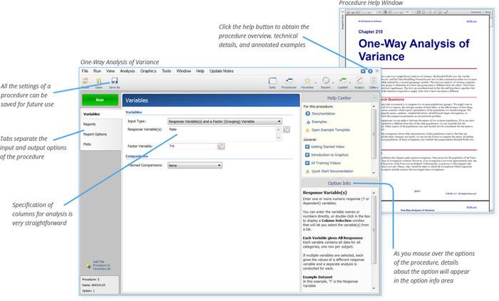 NCSS Easy Analysis Set-up